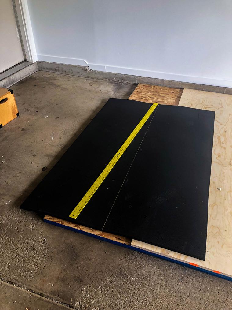 measure weightlifting mat for diy garage gym weightlifting platform