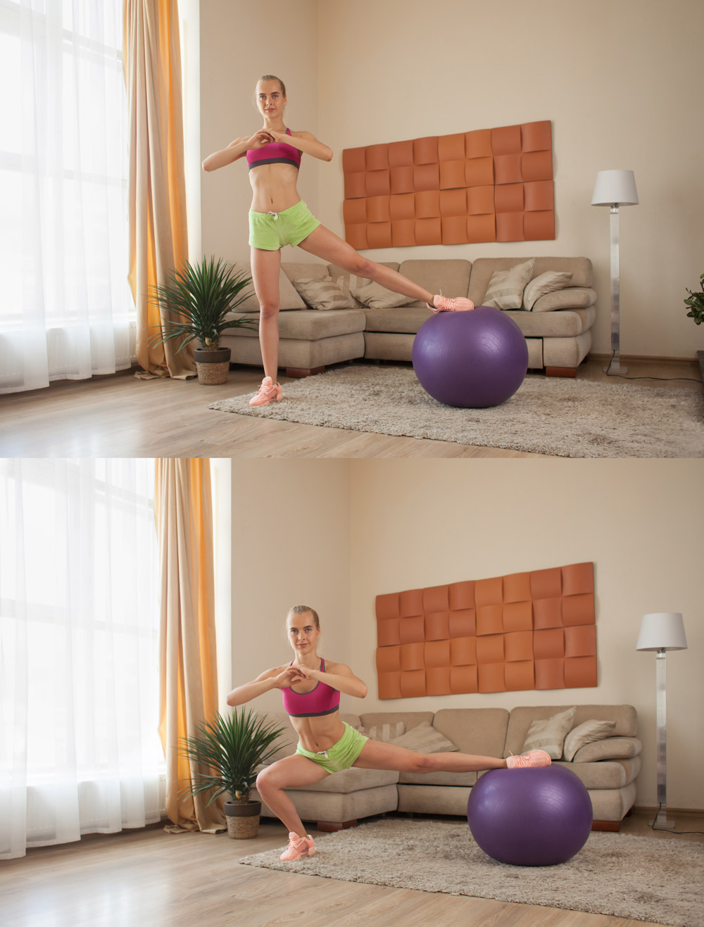 Fitness ball side lunge exercise