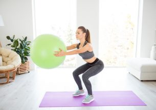 Simple Exercise Ball Squat For Beginners