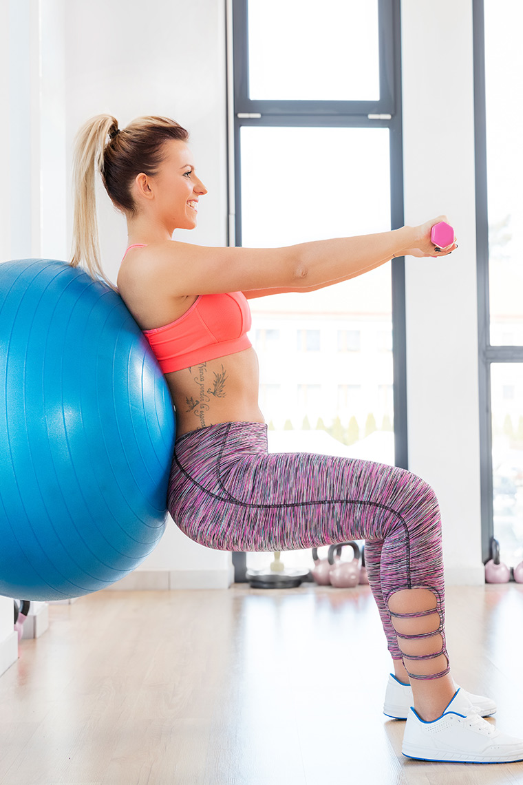 Swiss ball squat exercises for the beginner and stay at home mom