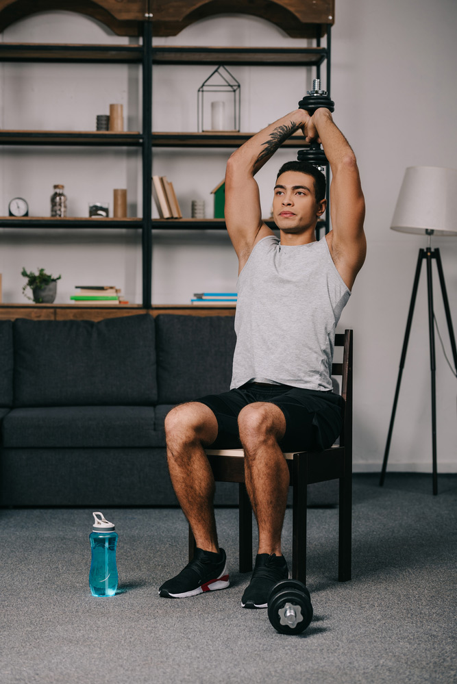 doing a dumbbell tricep extension at home