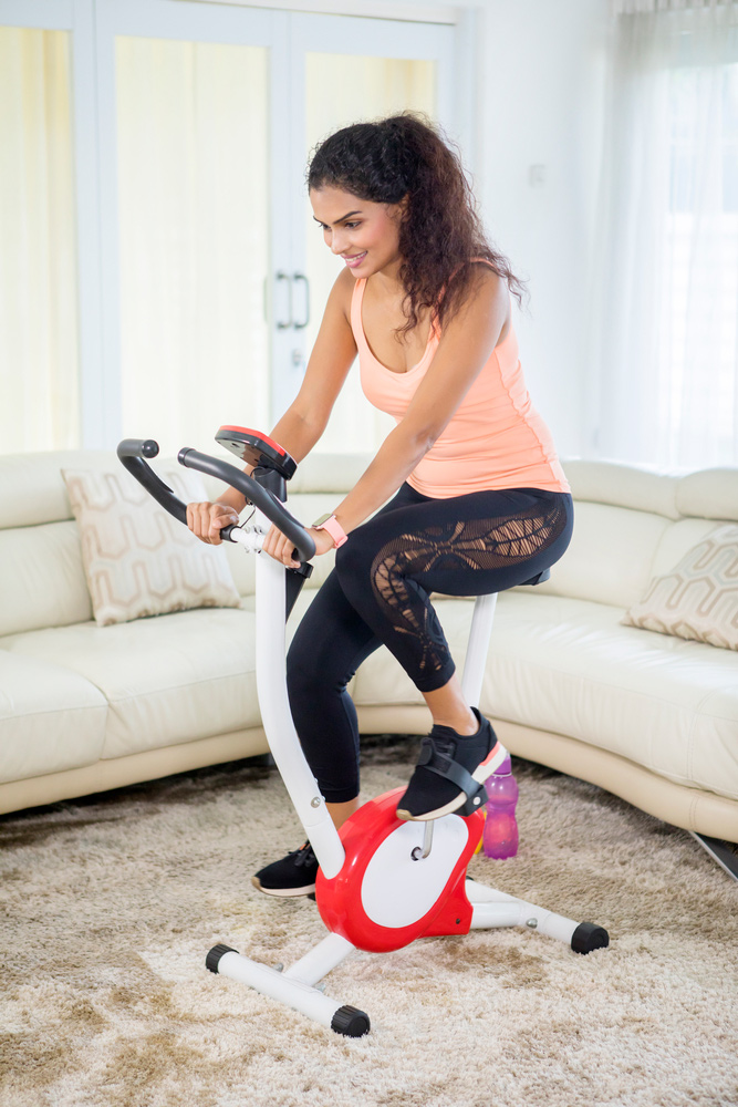 small stationary bike in an apartment