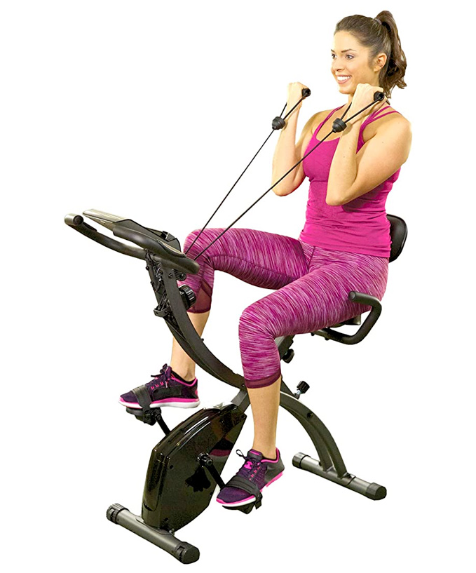 small folding stationary bike with resistance bands