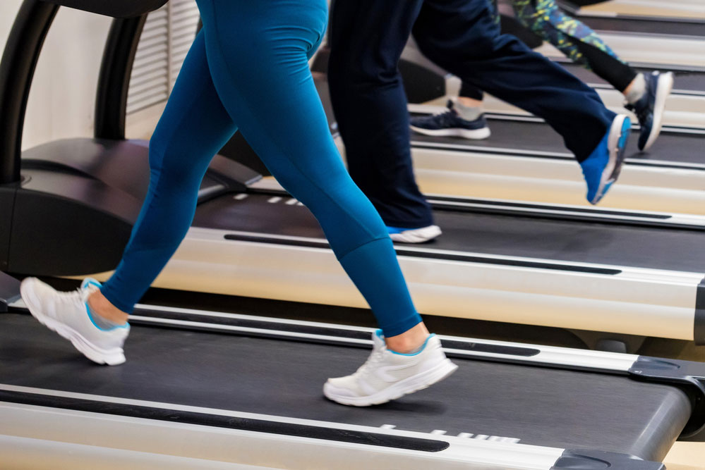 working out on a home motorless treadmill