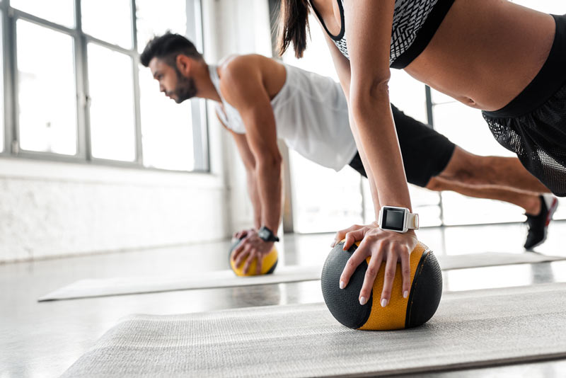 slam ball pushup exercise