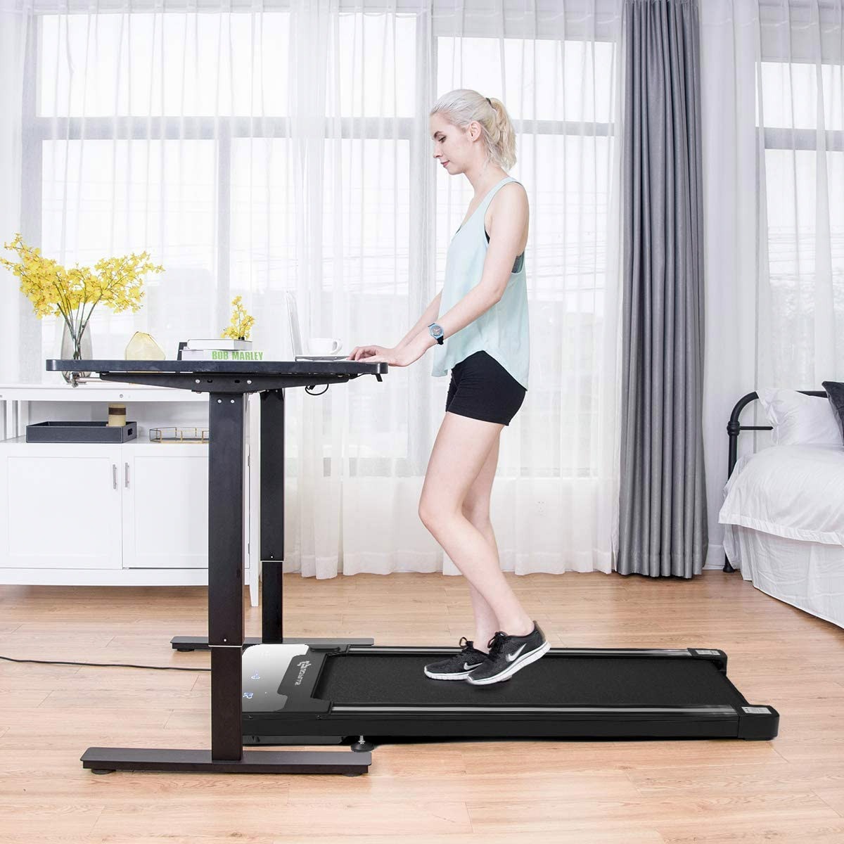 standing treadmill desk for a home workout